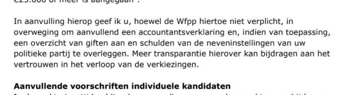 In een 'herinneringsbrief' vraagt het ministerie op 9 februari nogmaals om openbaarmaking van alle giften.