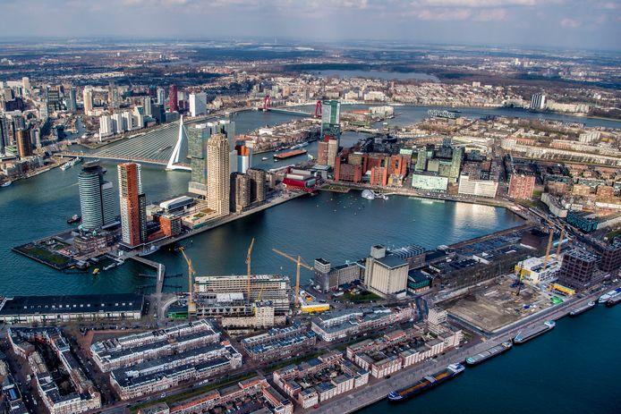 Een deel van Rotterdam Zuid vanuit de lucht.