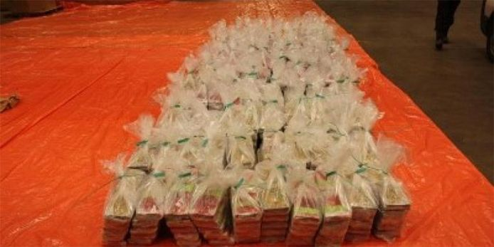 De 1100 kilo in beslag genomen cocaïne hebben een straatwaarde tussen de 25 en 30 miljoen euro.