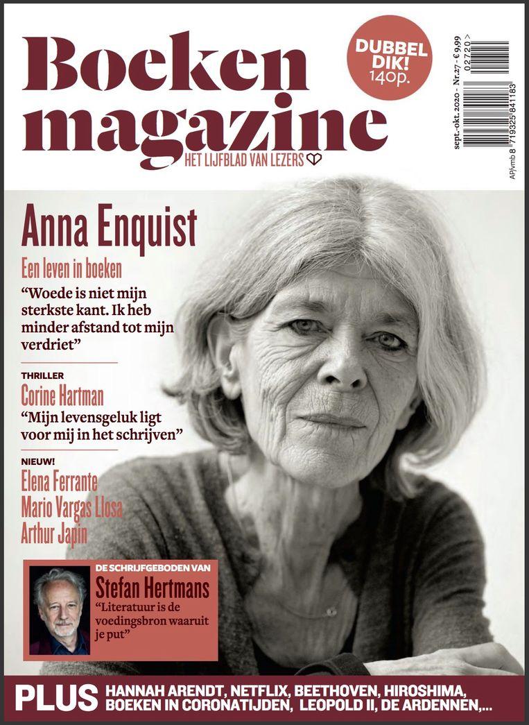 """Enquist is kwaad: """"Hier zijn gewoon fragmenten van vroegere interviews bij elkaar gegooid."""" Beeld Boeken Magazine"""