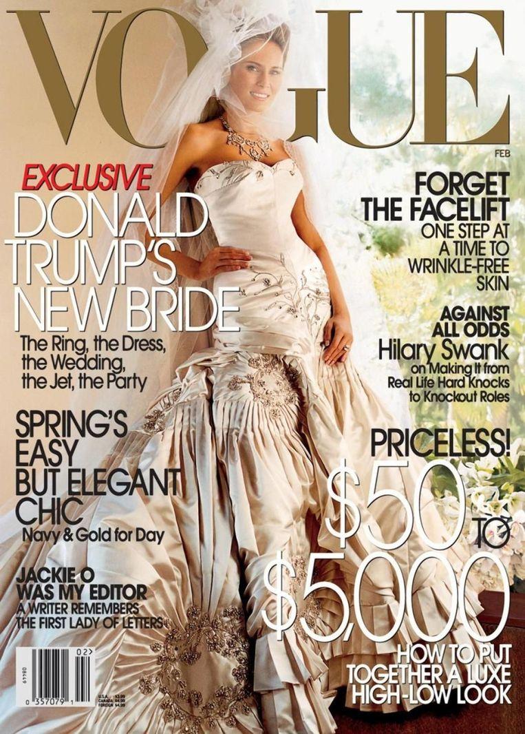 Februari 2005, Melania Trump (als bruid), gefotografeerd door Mario Testino, jurk John Galliano voor Christian Dior. Beeld