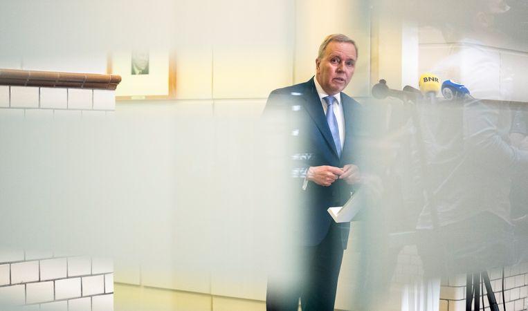 Rutger Ploum, ex partijvoorzitter van het CDA, op het partijkantoor van het CDA tijdens de persconferentie waarin hij bekend heeft gemaakt terug te treden als partijvoorzitter van het CDA. Beeld Freek van den Bergh / de Volkskrant
