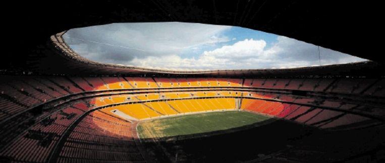Het Soccer City-stadion in Johannesburg waar op 11 juni de openingswedstrijd van het WK voetbal, tussen Zuid-Afrika en Mexico, wordt gespeeld. (FOTO EPA) Beeld EPA