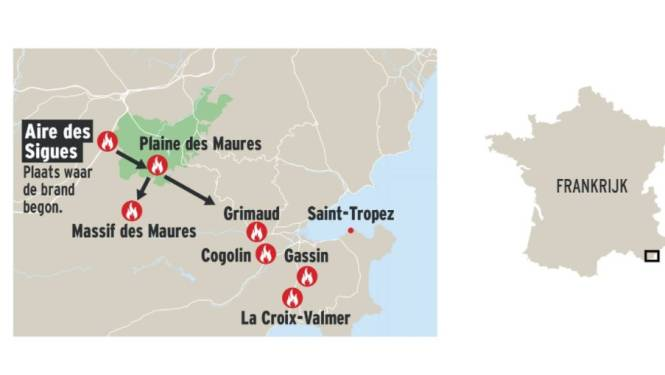 """""""Heftigste branden in twintig jaar tijd"""" woeden nog steeds nabij Saint-Tropez ondanks betere weersomstandigheden"""