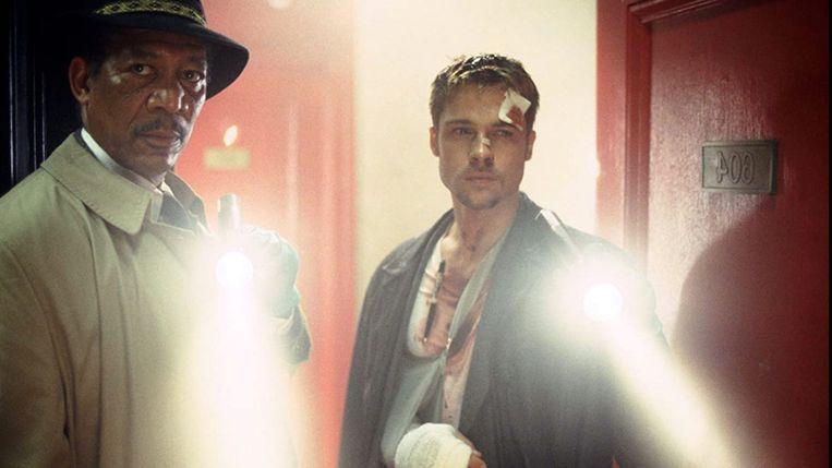 Morgan Freeman en Brad Pitt in 'Se7en'. Beeld humo