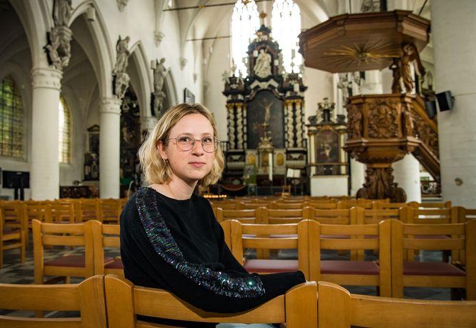 Renée Thyssens in 'haar' Sint-Jan-de-Doper-kerk in Leuven.