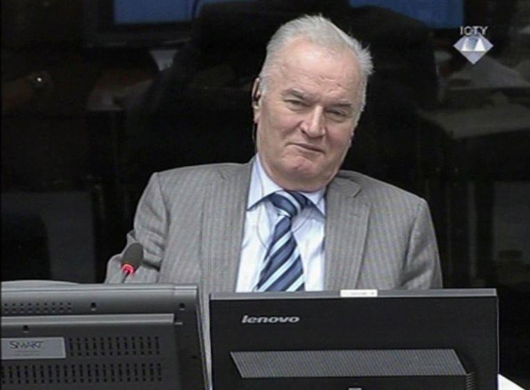 Ratko Mladic in 2014 in de rechtszaal in Den Haag. Beeld AP
