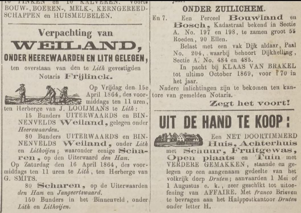 Advertenties van notarissen over zaken in Heerewaarden en Zuilichem in de Tielsche Courant van 1864.