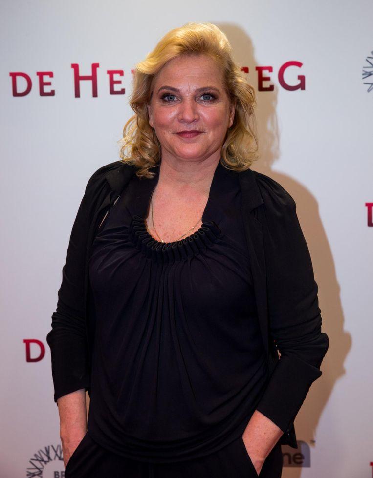 Anneke Blok op de rode loper bij de premiere van de De Helleveeg. Beeld anp