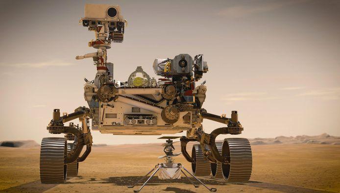 Illustratie van rover Perseverance met helikopter Ingenuity.