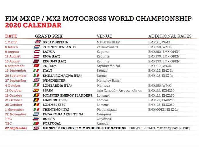 De herziene kalender van het WK motorcross 2020.