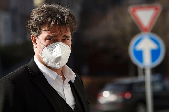 Alain Mathot à la sortie du tribunal correctionnel de Liège, ce 25 février.