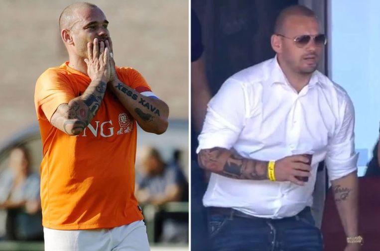 Links: Sneijder tijdens een demonstratiematch het voorbije weekend, rechts: zondag in een skybox in het stadion van FC Utrecht.