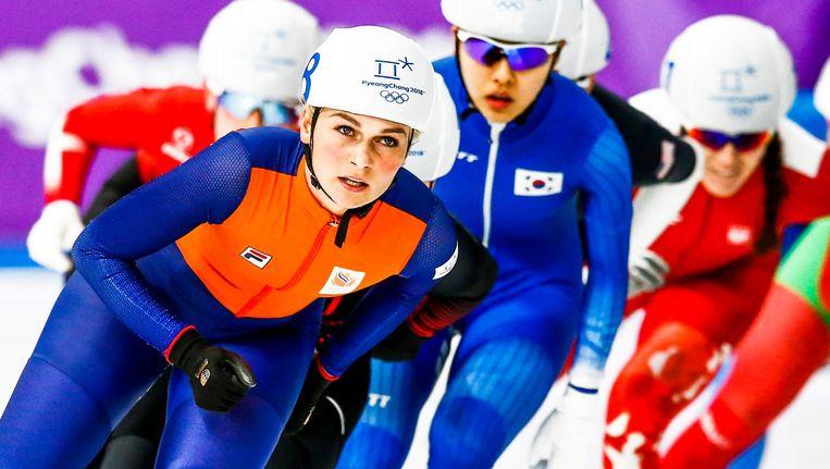 Irene Schouten heeft zich geplaatst voor de olympische finale van de massastart Beeld ANP