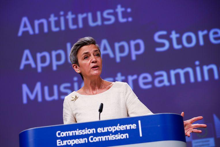 Margrethe Vestager, Eurocommissaris voor Mededinging. Beeld AP