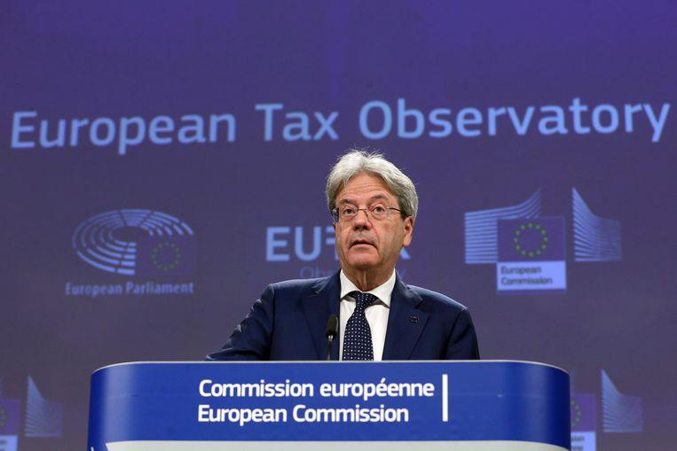 Europees commissaris voor Economie Paolo Gentiloni bij de lancering van het Europese Belastingobservatorium in Brussel. Beeld AP