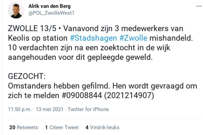 De politie deed gisteren een oproep voor getuigen van een incident op station Stadshagen.