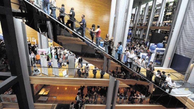 Zondag was er een open dag in het Europees Parlement in Straatsburg. De Europarlementariërs komen hier een week in de maand bijeen. (AFP) Beeld AFP