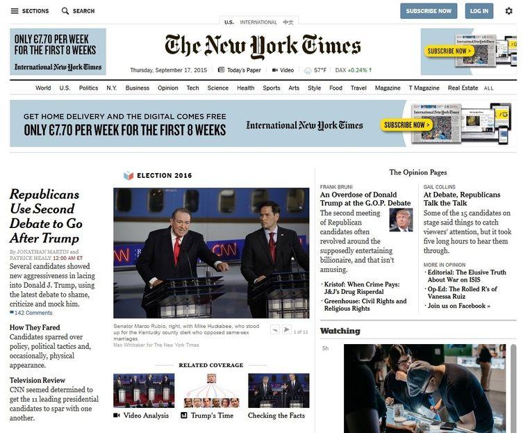 De advertentievrije website van The New York Times. Beeld -