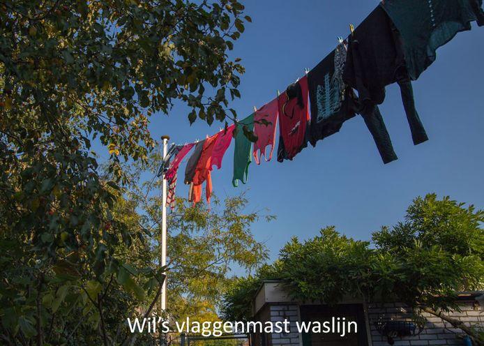 Metershoog boven de jaren '70 woonwijk in Harmelen waait het wasgoed in de wind. Vanuit de wijde omgeving is de waslijn goed zichtbaar. Wil hijst al 20 jaar lang de was van haar kinderen en haar moeder omhoog via de 4 meter hoge vlaggenmast in haar achtertuin. Deze waslijn loopt vanaf de eerste verdieping van haar huis tot aan de top van de vlaggenmast.