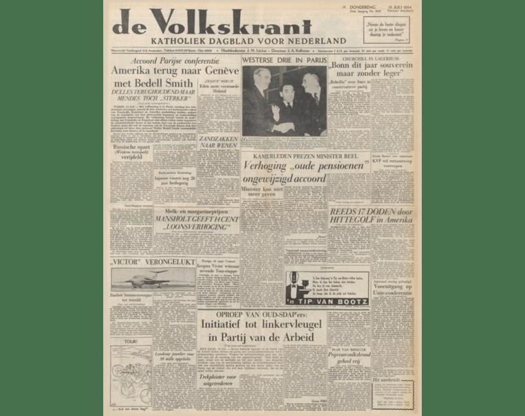 Voorpagina van de Volkskrant van 15 juli 1954.  Beeld