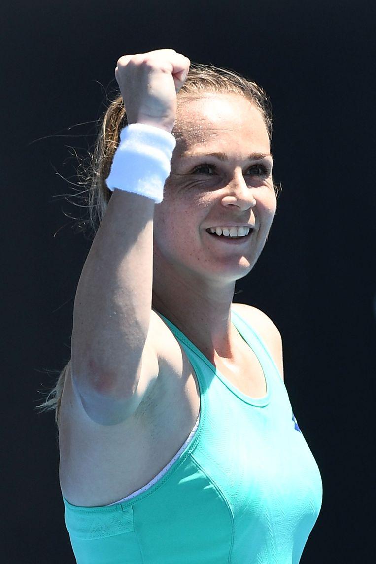 Magdalena Rybarikova blij met felbevochten zege. Beeld Getty Images
