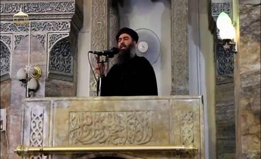 Abu Bakr al-Baghdadi In Mosul op archiefbeeld.