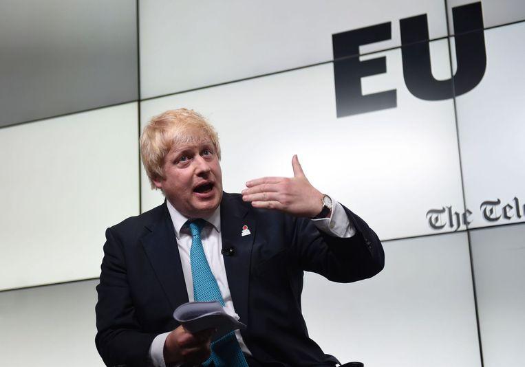 Boris Johnson tijdens een EU-debat. Beeld afp