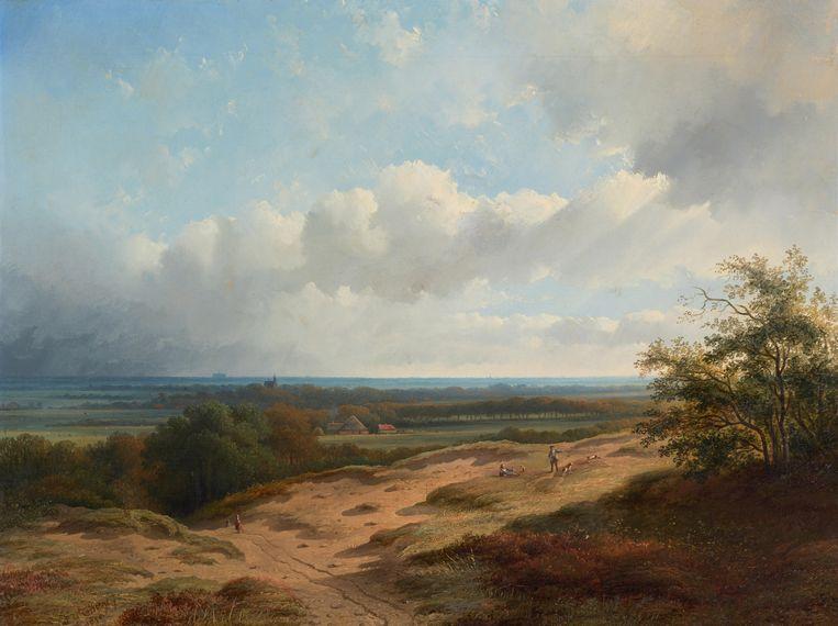 Gezicht op de duinen bij Bergen, Bernardus Gerardus ten Berge,  1856. Beeld Stedelijk Museum Alkmaar