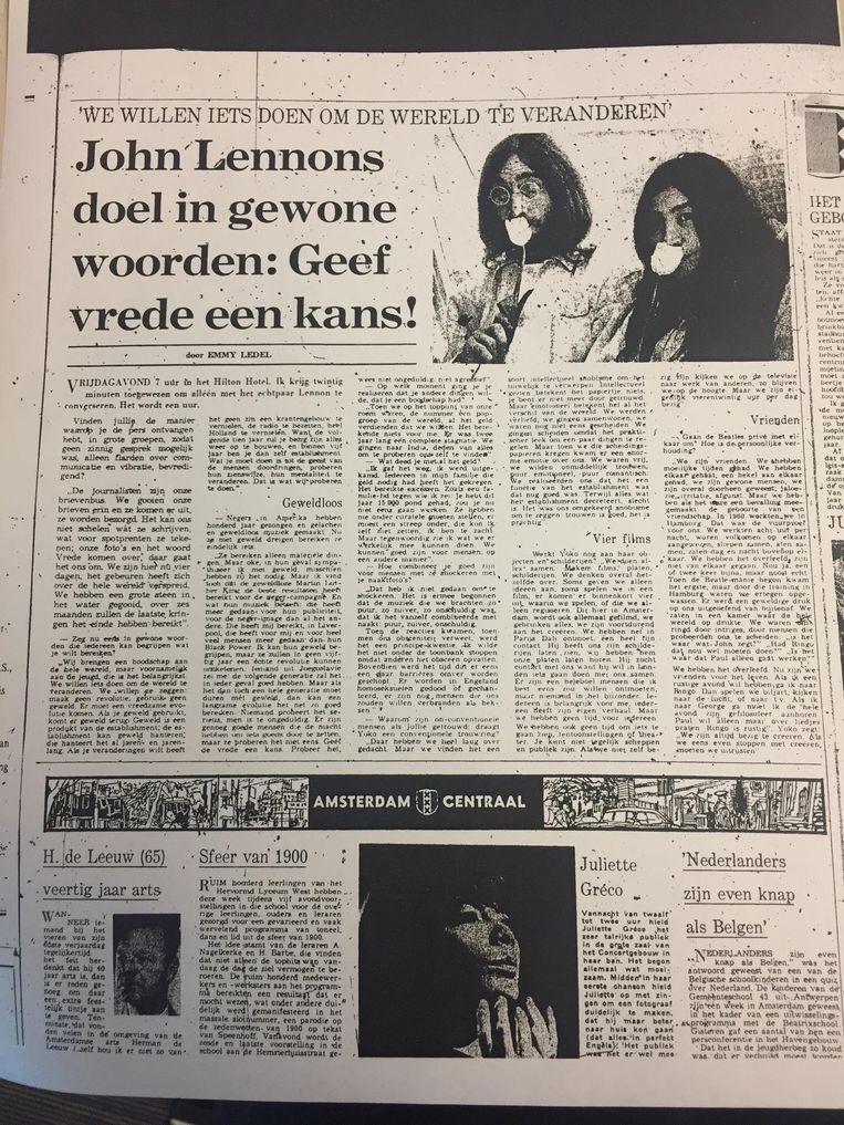 Het interview uit 1969 Beeld Het Parool