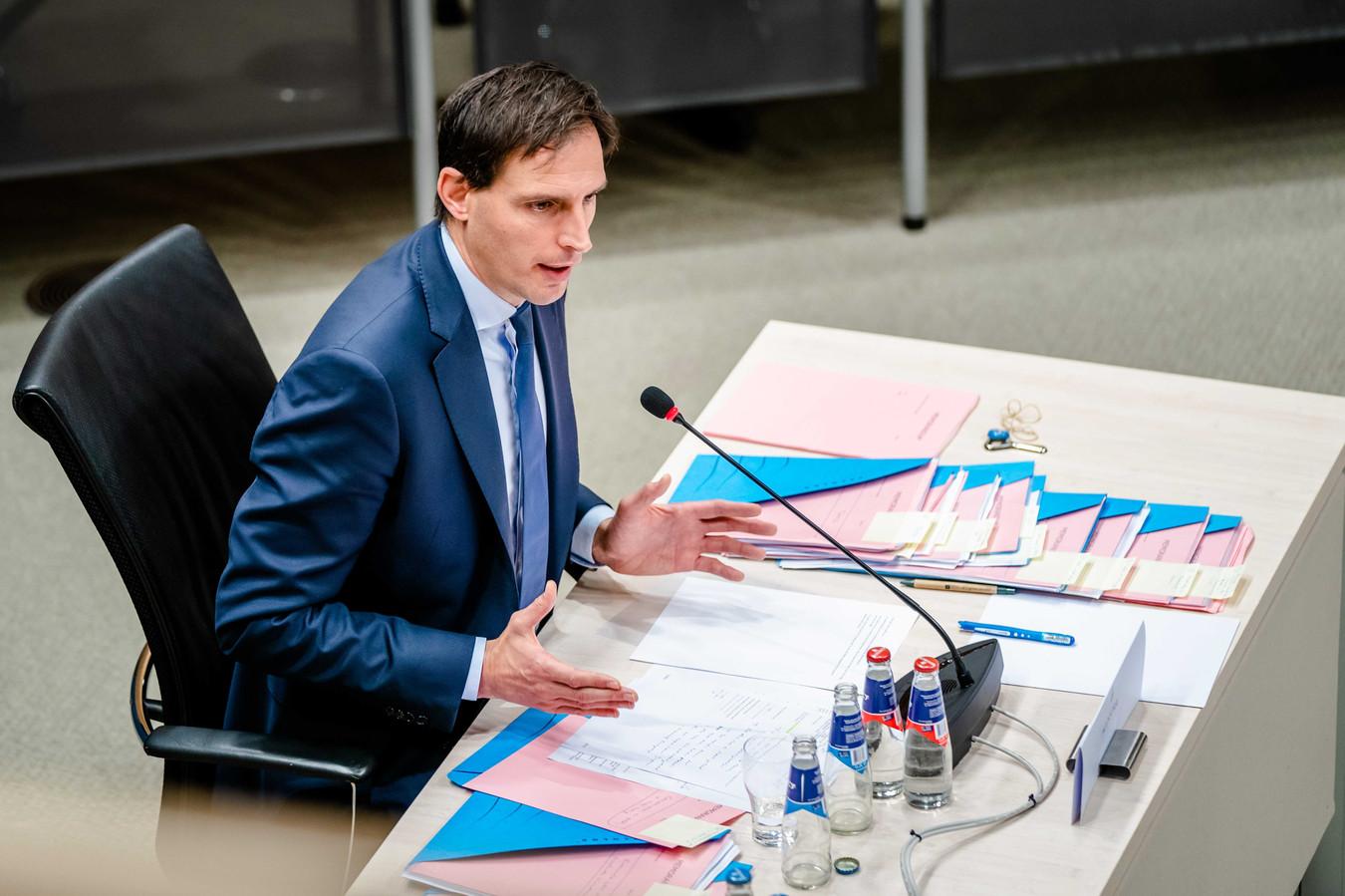 Minister Wopke Hoekstra van Financiën wordt gehoord door de parlementaire enquêtecommissie kinderopvangtoeslag, tijdens de laatste dag van de hoorzittingen van de tijdelijke commissie.