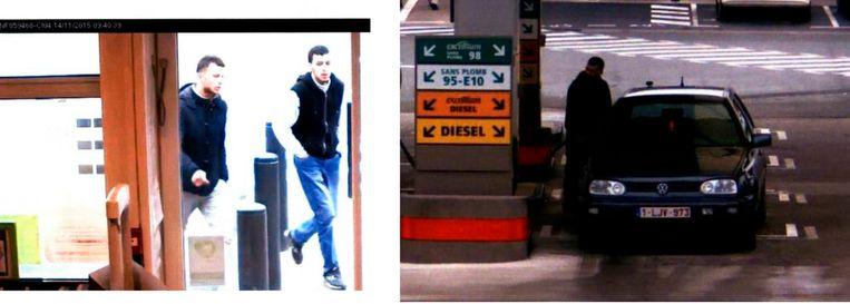 Salah Abdeslam en Hamza Attou tijdens de terugreis van Parijs naar Brussel, aan het benzinestation. Beeld rv