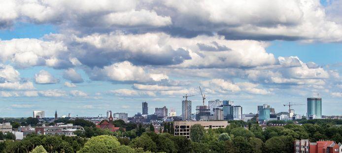 De skyline van Utrecht, gefotografeerd vanuit Leidsche Rijn.