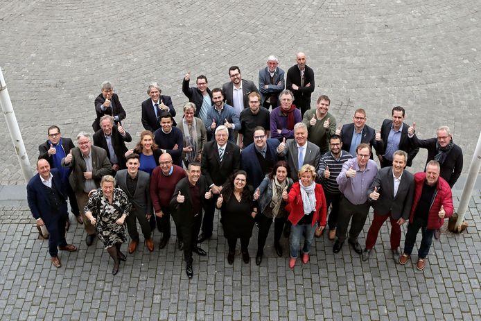 De Bergse gemeenteraad na  de verkiezingen in 2018. Toen zag het er nog heel eensgezind uit.