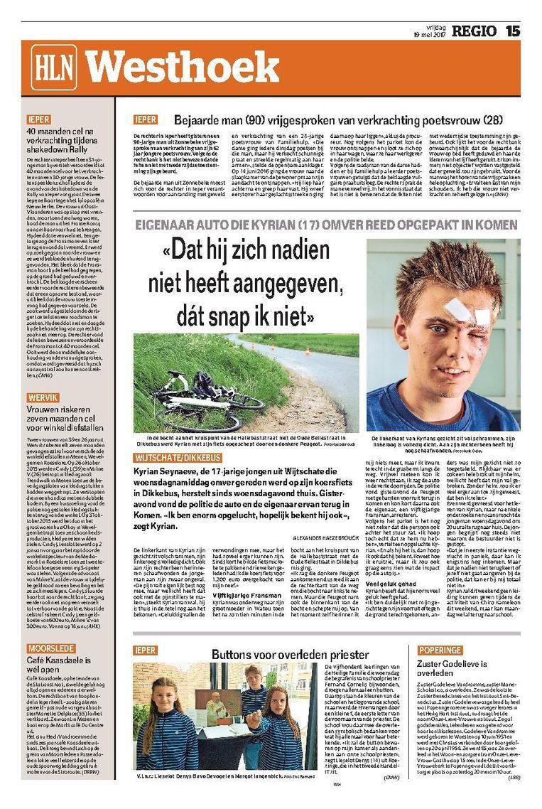Kyrian werd op 17 mei 2017 van zijn fiets gemaaid in Dikkebus.