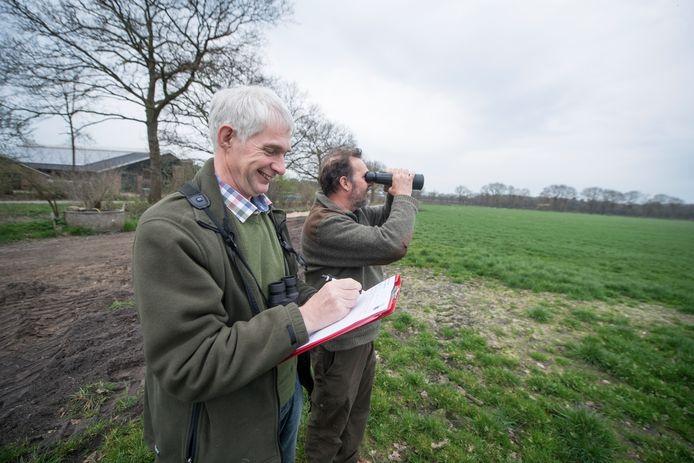 Bennie Arfman en Wim Wechstapel brengen het aantal reeën in kaart.