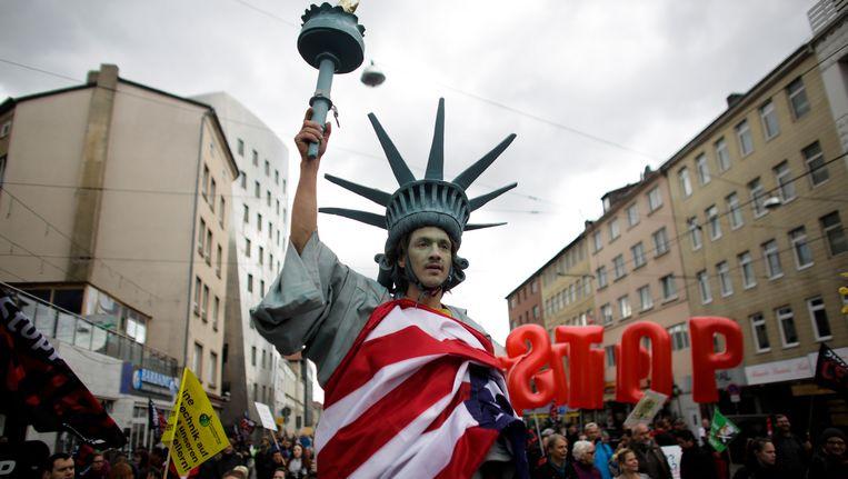 Protest tegen TTIP in het Duitse Hannover. Beeld null