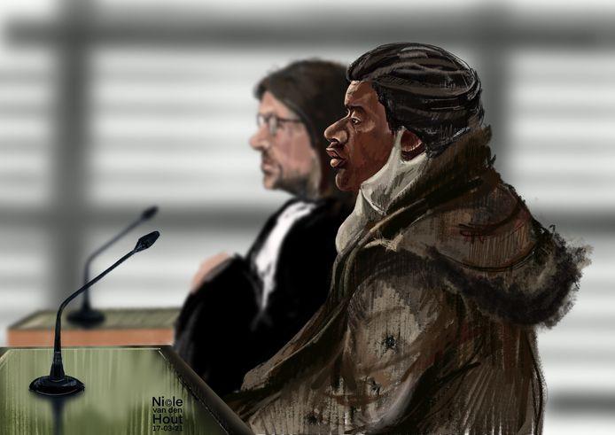 Rechtbanktekening van Osmair R. in de rechtbank van Utrecht op 17 maart 2021.