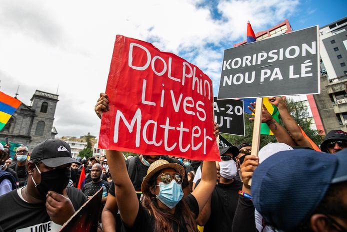 Beeld van het grote protest in Port Louis eind augustus.