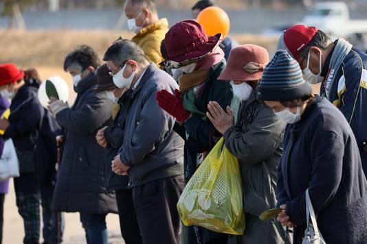 Moment de prière à Soma (Fukushima), 11 mars 2021