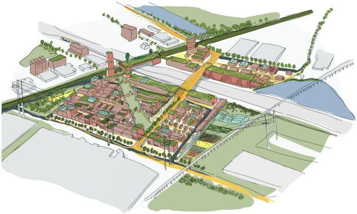 Een eerste schets van hoe de nieuwe wijk op Bleizo-West er uit kan komen te zien. Over de A12 wil Zoetermeer een nieuwe brug leggen.