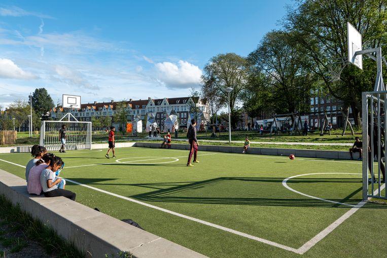 Met de nieuwe naam is het nieuwe stadspark voltooid.  Beeld Hollandse Hoogte / Mariette Carstens