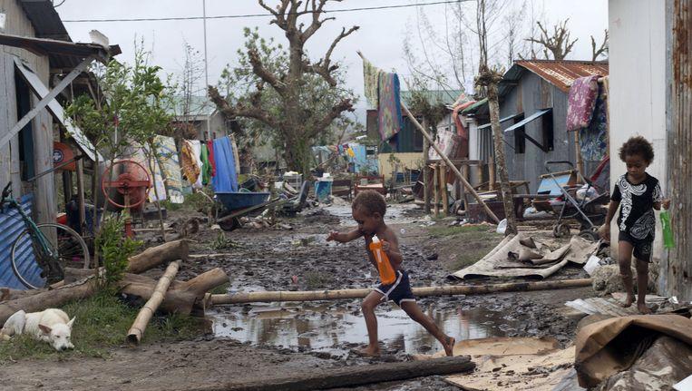De cycloon richtte een ware ravage aan op Vanuatu. Beeld AP