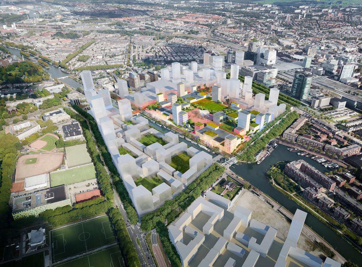 Een impressie van de toekomstige Jaarbeurs, met park op het dak en terrassen langs het Merwedekanaal, een masterplan van Winy Maas (MVRDV.