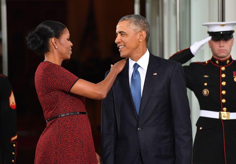 Barack Obama met zijn vrouw Michelle. Beeld Bloomberg via Getty Images