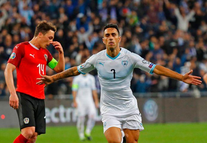 Eran Zahavi in het shirt van Israël. In 54 interlands maakte hij 20 goals voor zijn land.