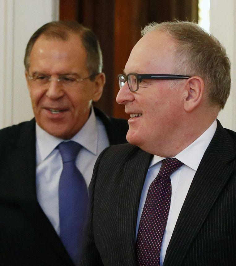 Frans Timmermans en zijn Russische ambtsgenoot Sergej Lavrov Beeld ANP