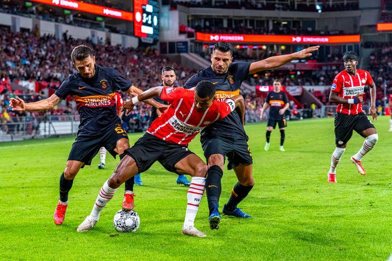 Invaller Cody Gakpo houdt twee opponenten van de bal. Beeld Pro Shots / Marcel van Dorst