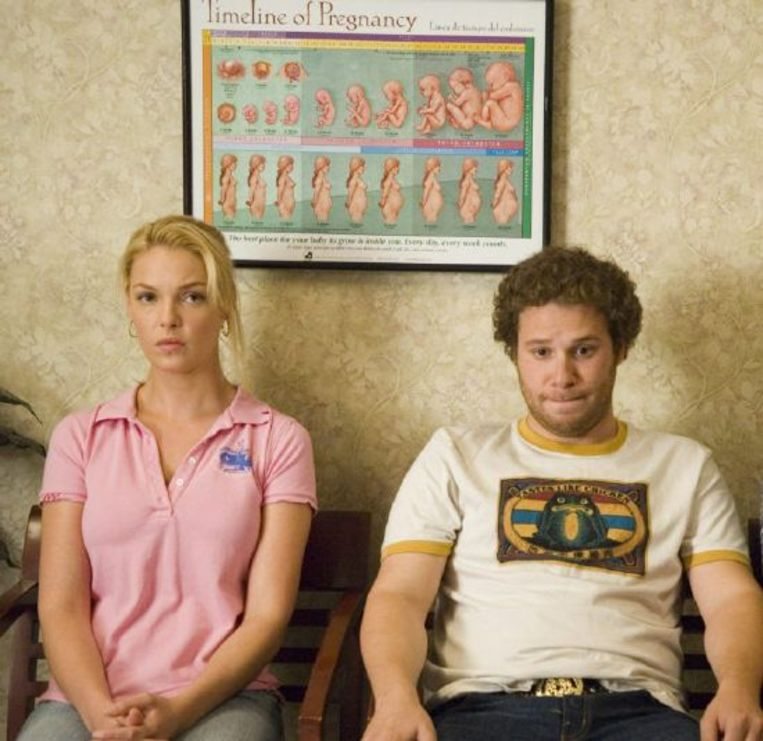 Katherine Heigl en Seth Rogen in Knocked Up. Beeld