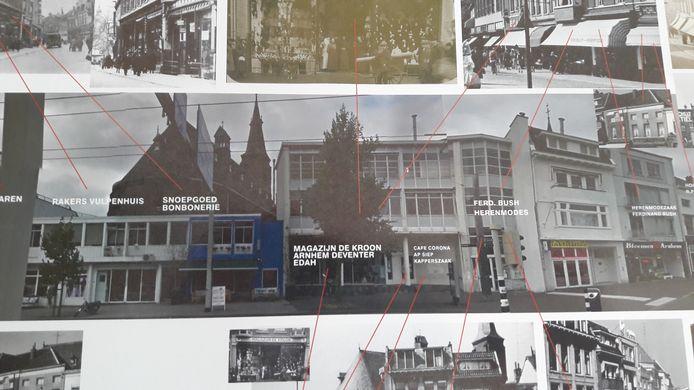 Beeld van de voormalige AH (midden) aan de Van Muijlwijkstraat met aangrenzende panden. De bijschriften geven aan welke zaken er in vroeger tijden zaten.